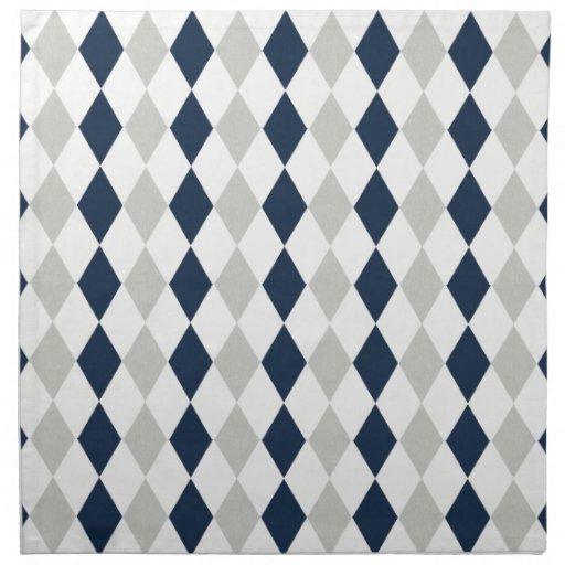 Cool Navy Blue and Gray Argyle Diamond Pattern Printed Napkin