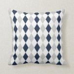 Cool Navy Blue and Gray Argyle Diamond Pattern Throw Pillows