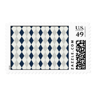 Cool Navy Blue and Gray Argyle Diamond Pattern Postage