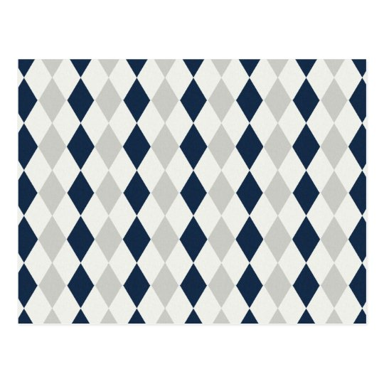Cool Navy Blue and Gray Argyle Diamond Pattern Postcard