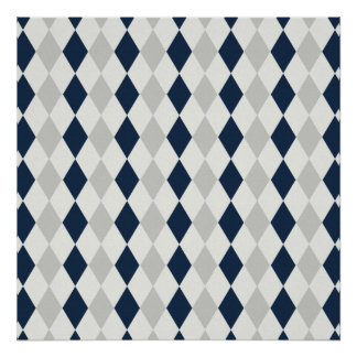 Cool Navy Blue and Gray Argyle Diamond Pattern Poster