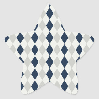 Cool Navy Blue and Gray Argyle Diamond Pattern Star Sticker