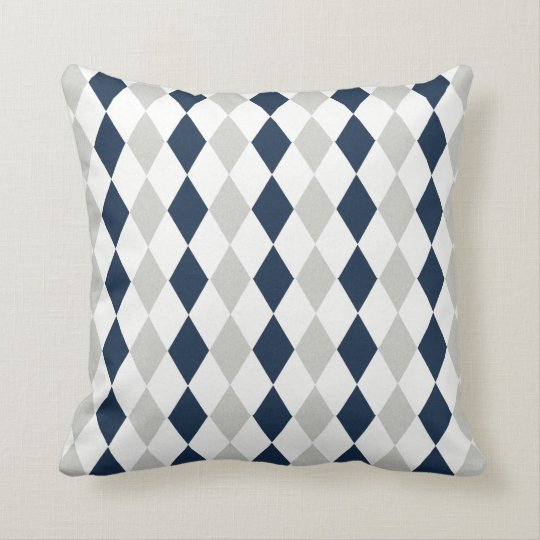 cool navy blue and gray argyle diamond pattern throw pillow. Black Bedroom Furniture Sets. Home Design Ideas