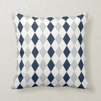 Cool Navy Blue and Gray Argyle Diamond Pattern Throw Pillow