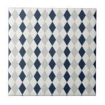 Cool Navy Blue and Gray Argyle Diamond Pattern Ceramic Tiles