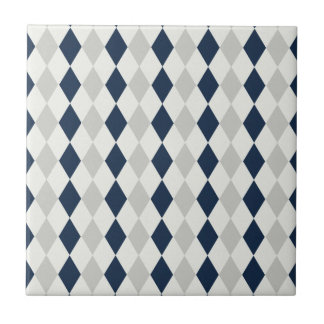 Cool Navy Blue and Gray Argyle Diamond Pattern Tile