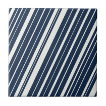 Cool Navy Blue and White Diagonal Stripes Pattern Ceramic Tile