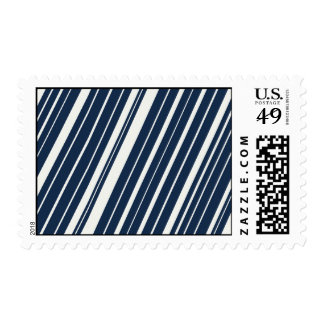 Cool Navy Blue and White Diagonal Stripes Pattern Postage