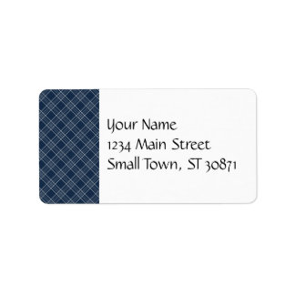 Cool Navy Blue and White Plaid Pattern Gifts Label