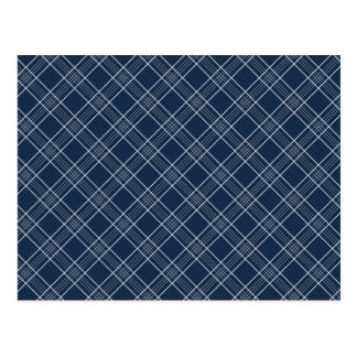 Cool Navy Blue and White Plaid Pattern Gifts Postcard