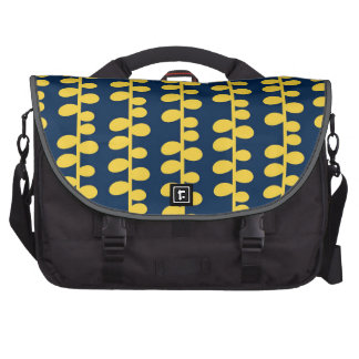 Cool Navy Blue and Yellow Retro Pattern Bags For Laptop
