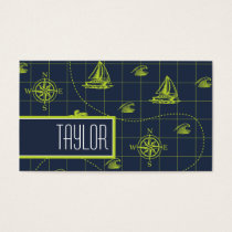 Cool, Navy Blue, Lime Green Nautical Map Business Card