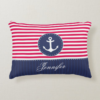 Cool Navy Blue Red Anchor Personalized Text Decorative Pillow