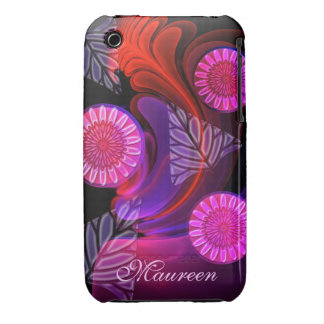 Cool Neon Flowers & Name  iPhone 3G/3GS Case