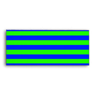 Cool Neon Green And Blue Stripes Envelope