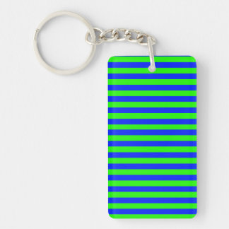 Cool Neon Green And Blue Stripes Keychain