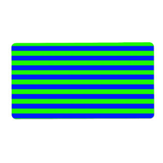 Cool Neon Green And Blue Stripes Label