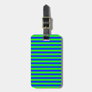 Cool Neon Green And Blue Stripes Bag Tag