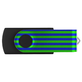 Cool Neon Green And Blue Stripes Swivel USB 2.0 Flash Drive