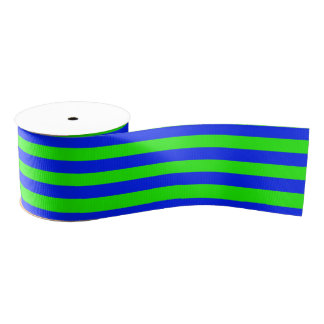 Cool Neon Green And Blue Stripes Blank Ribbon