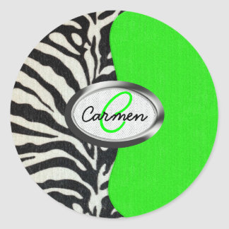 Cool Neon Green and Zebra Print Monogram Classic Round Sticker