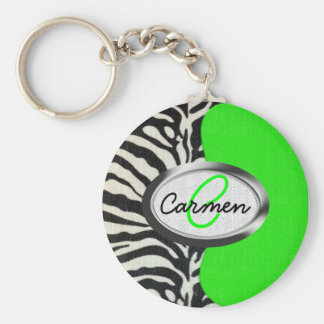 Cool Neon Green and Zebra Print Monogram Keychain
