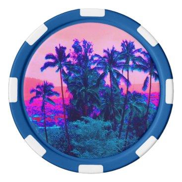 Hawaiian Themed Cool Neon Hawaiian Palm Trees Poker Chips Set