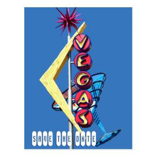 Cool Neon Las Vegas Wedding Sign Blue Postcard