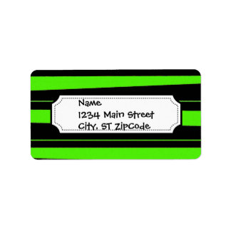 Cool Neon Lime Green and Black Striped Pattern Label