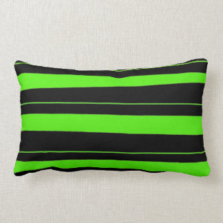 Cool Neon Lime Green and Black Striped Pattern Lumbar Pillow