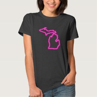 Cool Neon Magenta Map of Michigan T-Shirt
