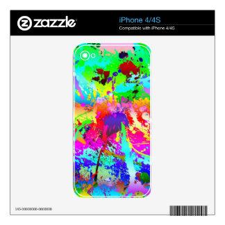 Cool Neon Rainbow Splatter iPhone 4 Skin