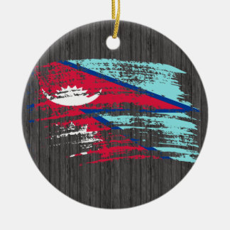 Cool Nepali flag design Double-Sided Ceramic Round Christmas Ornament