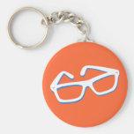 Cool Nerd Glasses in Black & White Keychain