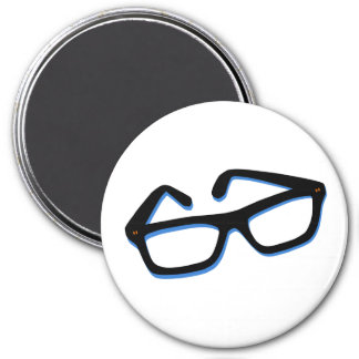 Cool Nerd Glasses in Black & White 3 Inch Round Magnet