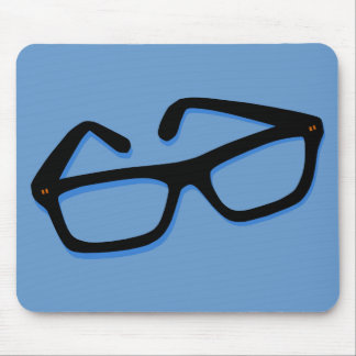 Cool Nerd Glasses in Black & White Mouse Pad
