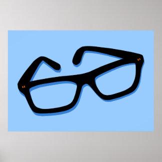 Cool Nerd Glasses in Black & White Poster
