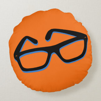 Cool Nerd Glasses Round Pillow