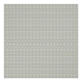 Cool Neutral Gray Floral Doodle Pattern Poster