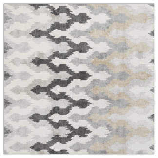 Cool neutral grey chevron ikat tribal pattern fabric