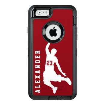Cool New Custom Sports Red Basketball Player Name Otterbox Defender Iphone Case by ShabzDesigns at Zazzle