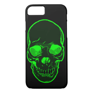Cool New Graphic Skull Bright Green Silhouette iPhone 7 Case