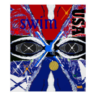 Cool New Large USA Sports Art Swimming Poster