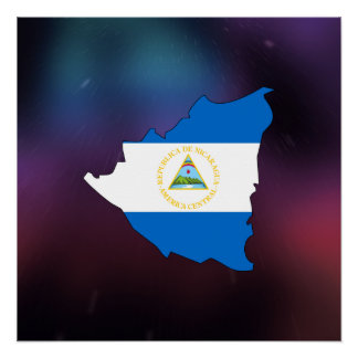 Cool nicaragua Flag Map Perfect Poster