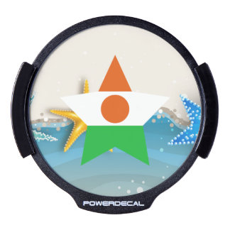 Cool Niger Flag at the Beach LED Car Window Decal
