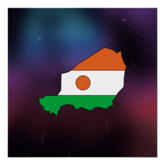 Cool niger Flag Map Poster