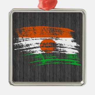 Cool Nigerien flag design Square Metal Christmas Ornament