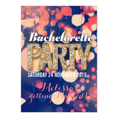 Cool Night Lights Bachelorette Party Invitations