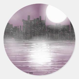 cool night lights classic round sticker