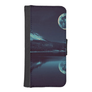 cool night moon view designs iPhone SE/5/5s wallet case